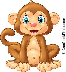 Cartoon monkey sitting - Vector illustration of Cartoon...