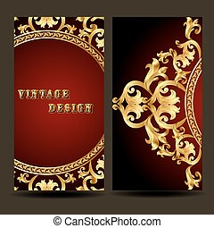 template for design of the booklet with vintage gold ornament