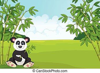 Cartoon cute panda in the bamboo fo