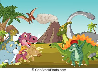 Cartoon group of dinosaur with moun - Vector illustration of...