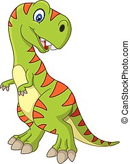 Cartoon happy dinosaur - Vector illustration of Cartoon...
