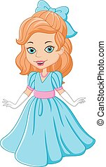 Cartoon beautiful princess - Vector illustration of Cartoon...