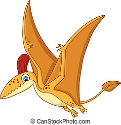 Cartoon Happy pterodactyl cartoon - Vector illustration of...