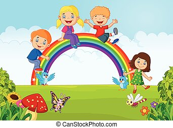 Cartoon Happy kids sitting on rainb - Vector illustration of...