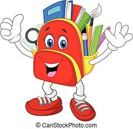 Cartoon Happy bag giving thumb up