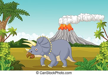 Cartoon Prehistoric scene with tric