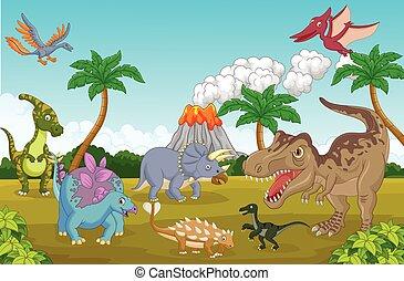 Cute cartoon dinosaur happy