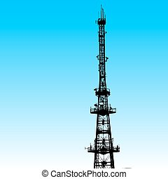 communications tower for tv and mobile phone signals. Vector...