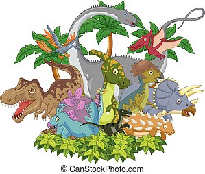Cartoon animal dinosaur - Vector illustration of Cartoon...