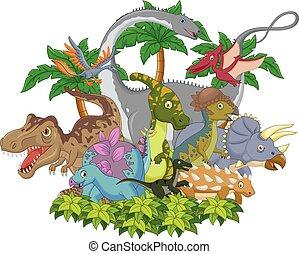 Cartoon animal dinosaur - Vector illustration of Cartoon...
