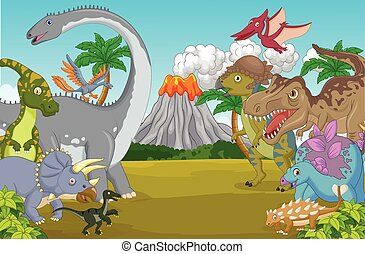 Cartoon dinosaur character with vol - Vector illustration of...