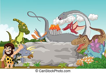 Collection dinosaur with caveman wa - Vector illustration of...