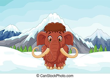 Cartoon mamouth in the ice mountain - Vector illustration of...