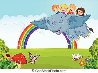 Cartoon little kid on the rainbow - Vector illustration of...