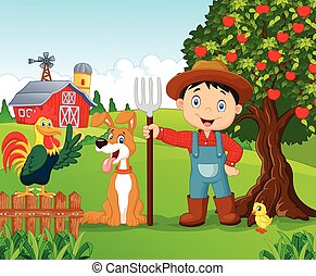 Cartoon little boy and dog in the f - Vector illustration of...