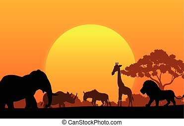 Cartoon collection animal in the af - Vector illustration of...