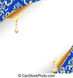 background with curled corner and gold with vintage...