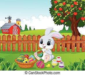 Cute Easter Bunny cartoon painting - Vector illustration of...