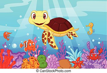 Cartoon baby cute turtle with colle
