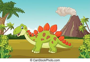 かわいい, 漫画, ジャングル, 恐竜