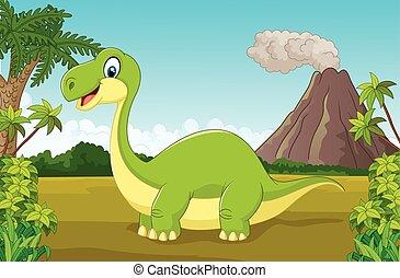 Cartoon happy dinosaur in the jungl - Vector illustration of...