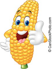 Cartoon happy corn giving thumb up - Vector illustration of...