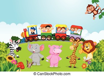 Happy kids cartoon on a colorful tr - Vector illustration of...
