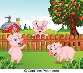 Cartoon adorable baby pig on the fa