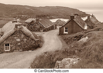 Blackhouses on Lewis - Village of ancient blackhouses on the...