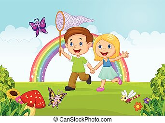 Cartoon kids catching butterfly in