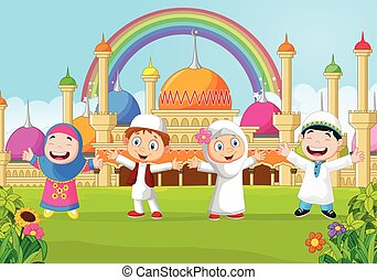 Cartoon little kid with the mosque - Vector illustration of...