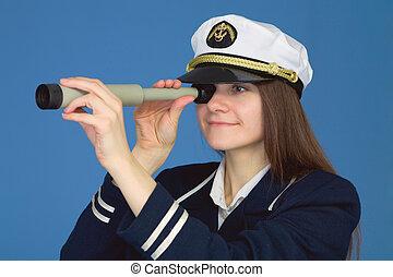 Portrait of woman - captain with spyglass - Portrait of the...