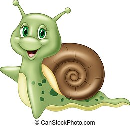 Cute cartoon snail waving - Vector illustration of Cute...