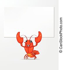 Cartoon lobster holding banner - Vector illustration of...