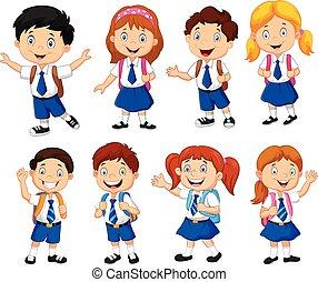 escuela, niños, caricatura,