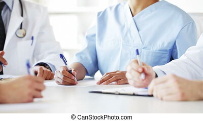 group of doctors at meeting in hospital - hospital,...