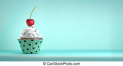 Delicious cupcake topped with a cherry and sweeties -...