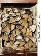 Firewood stored indoors