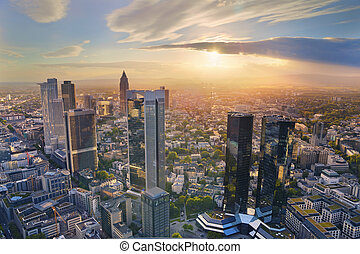 Frankfurt am Main - Aerial view of Frankfurt am Main skyline...