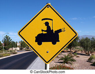 Golf Crossing - Golf cart crossing sign in a affluent desert...