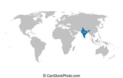 world map with indication of India