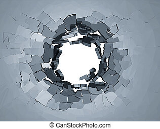 Hole cracks in the wall. Broken concrete template for a...