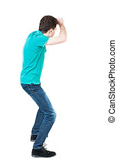 back view of skinny guy funny fights waving his arms and legs.