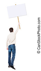 Back view man showing sign board. man holds information plate.