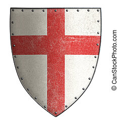 medieval crusader's metal shield with red cross isolated -...