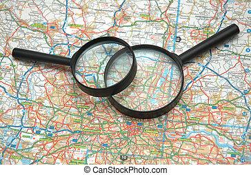 dos, Aumentar, anteojos, encima, mapa, londres