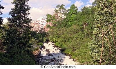 Waterfall and Maroon Bells - a waterfall along maroon creek...