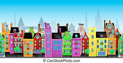 Seamless vector pattern of European city - Seamless vector...