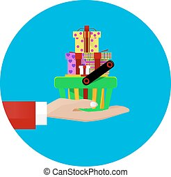 hand giving a shopping basket - Illustration of a hand...