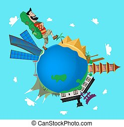 vector illustration of travling - vector illustration of...